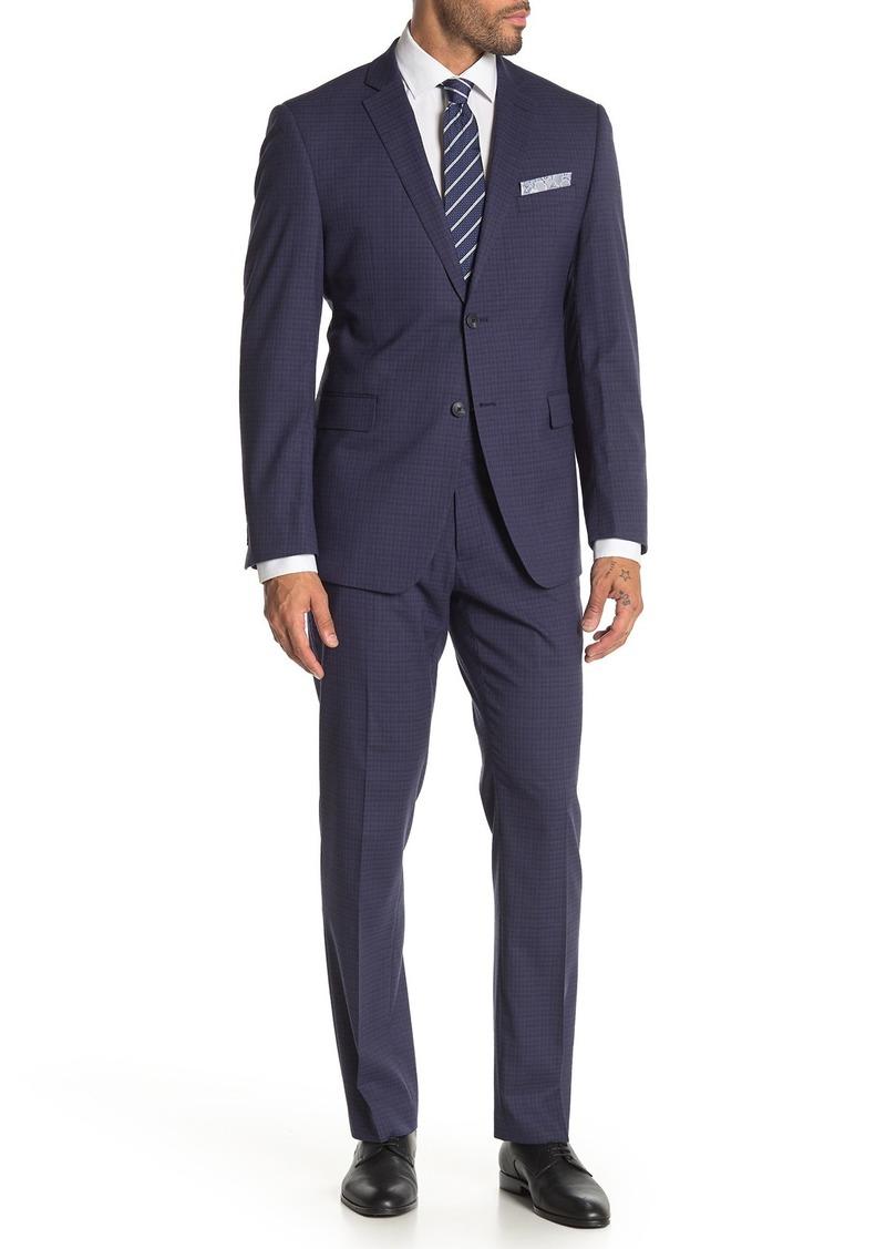 Perry Ellis Blue Check Two Button Notch Lapel Slim Fit Suit