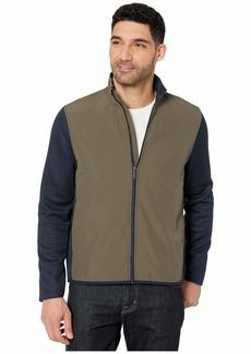 Perry Ellis Color Block Stretch Full Zip Fleece Long Sleeve Shirt