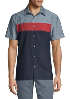 Perry Ellis Colorblock Short-Sleeve Shirt