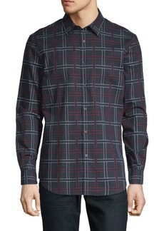 Perry Ellis Cotton Dobby Plaid Shirt