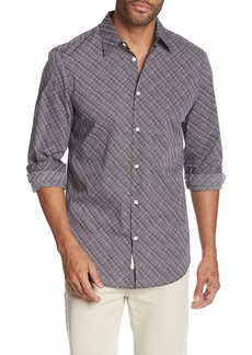 Perry Ellis Etched Grid Print Stretch Slim Fit Shirt