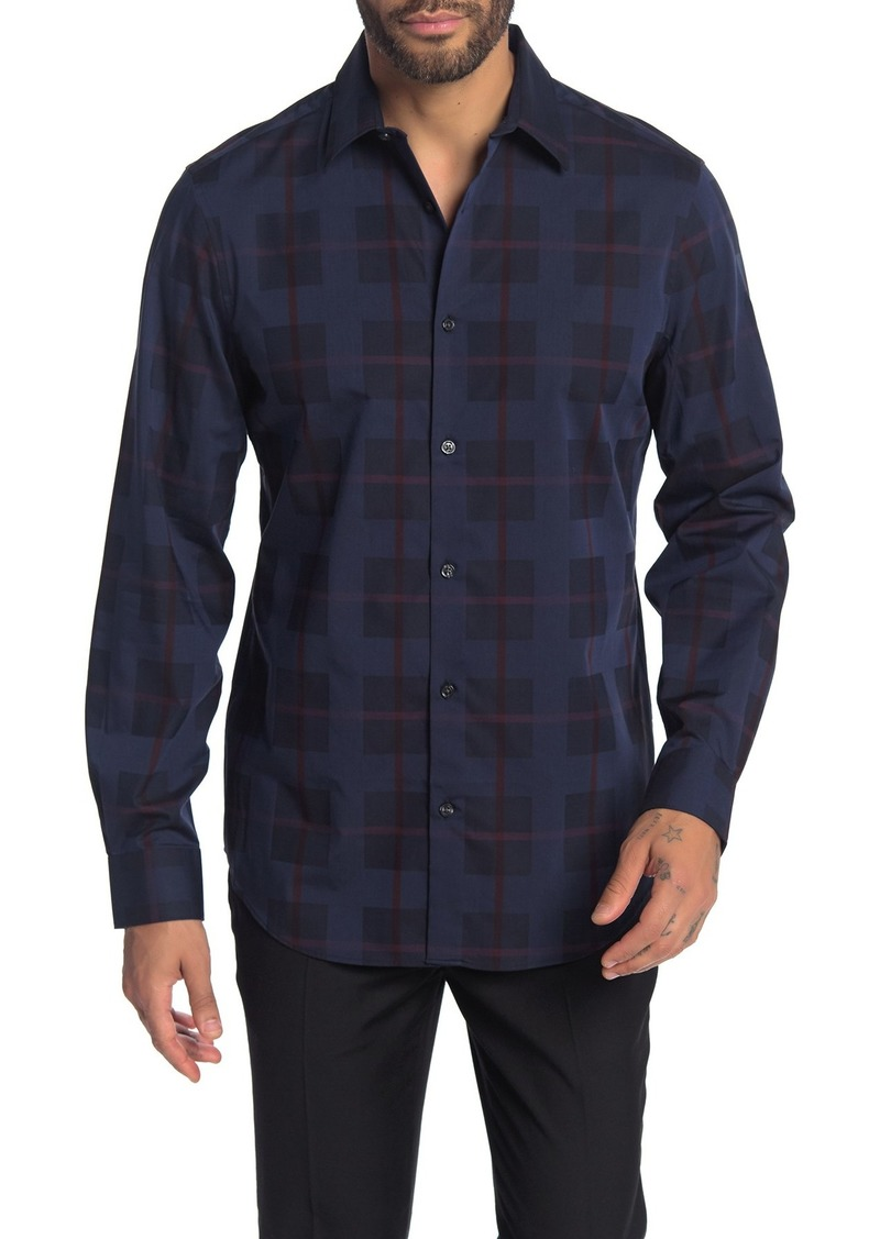 Perry Ellis Large Plaid Print Slim Fit Shirt