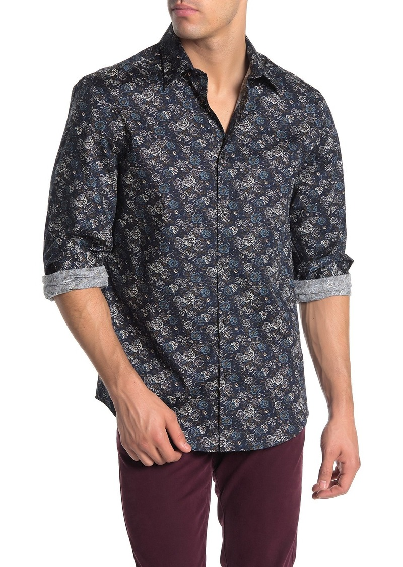 Perry Ellis Long Sleeve Printed Stretch Shirt