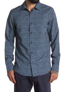 Perry Ellis Long Sleeve Slim Fit Printed Dress Shirt
