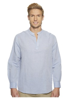 Perry Ellis Long-Sleeve Solid Linen Cotton Popover Shirt