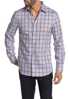 Perry Ellis Multi Check Print Slim Fit Tech Shirt