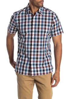 Perry Ellis Multi Check Short Sleeve Straight Fit Shirt