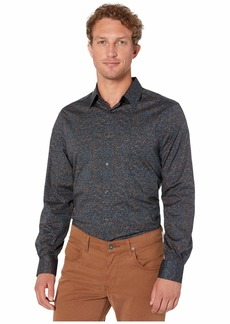 Perry Ellis Multicolor Speckle Print Stretch Long Sleeve Shirt