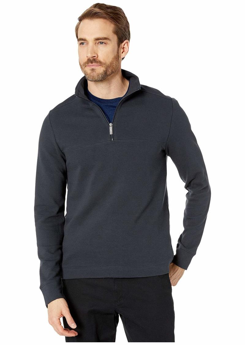 Perry Ellis Ottoman Rib Knit 1/4 Zip Long Sleeve Shirt