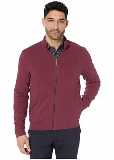 Perry Ellis Ottoman Rib Knit Full Zip Long Sleeve Shirt