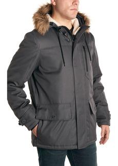Perry Ellis Oxford Snorkel Faux Fur Trim Hooded Jacket