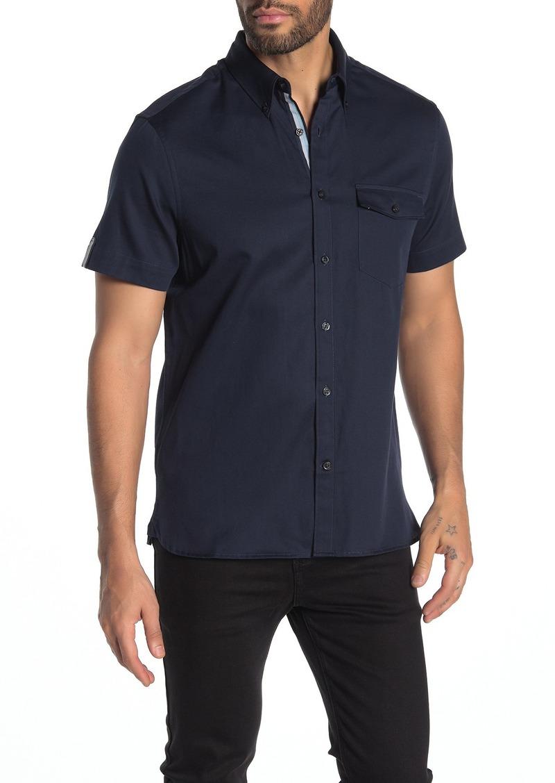 Perry Ellis Patch Pocket Short Sleeve Slim Fit Shirt