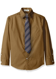 Perry Ellis Big Boys Solid Broadcloth Packed Shirt with Tie