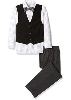 Perry Ellis Big Boys Solid Poplin Vest Set with Bow Tie