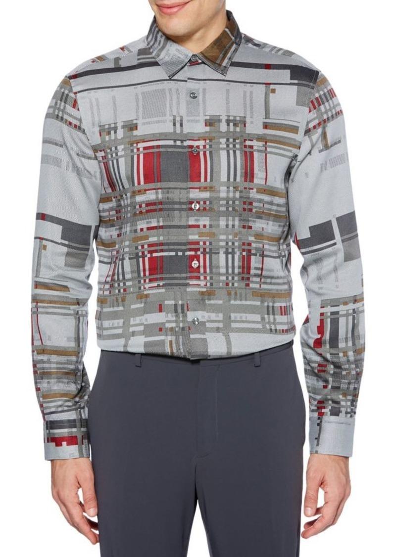 Perry Ellis Broken Plaid-Print Shirt