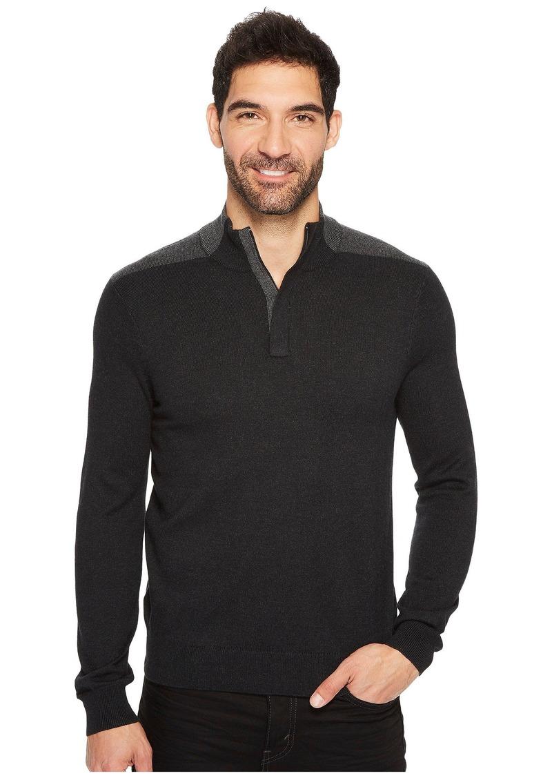 Perry Ellis Color Block Quarter Zip Sweater