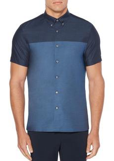 Perry Ellis Colorblock Short-Sleeve Cotton Button-Down Shirt