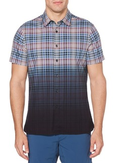 Perry Ellis Dip-Dyed Plaid Regular-Fit Oxford Shirt