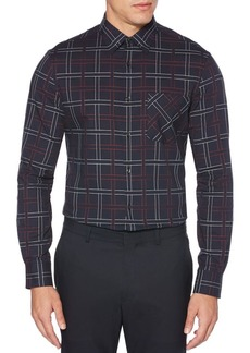 Perry Ellis Dobby Grid Plaid Shirt