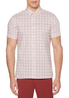 Perry Ellis Geometric-Print Button-Down Shirt