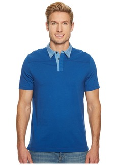 Perry Ellis Heathered Collar Pima Cotton Polo