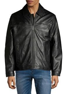Perry Ellis Leather Full-Zip Jacket