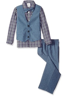 Perry Ellis Little Boys Heather Poplin Vest Set
