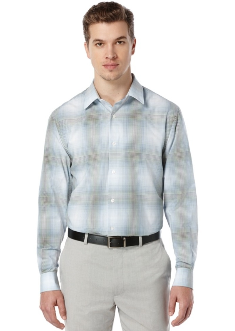 Perry Ellis Long-Sleeve Ombre Plaid Shirt