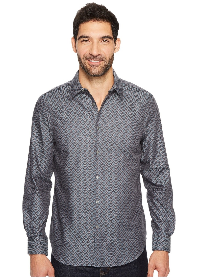 Perry Ellis Long Sleeve Wave Printed Shirt