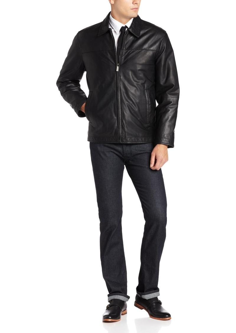 Perry Ellis Men' Open Bottom Leather Jacket