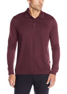 Perry Ellis Men's 3 Button Long Sleeve Jacquard Polo Wine/BFK