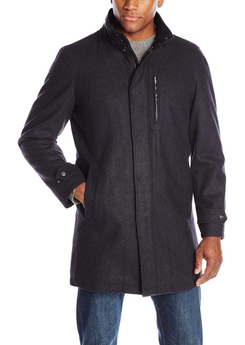 """Perry Ellis Men's 35"""" Wool Zip Front Coat with Snap Placket"""