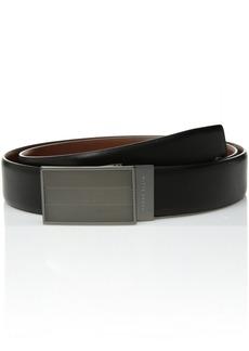 Perry Ellis Men's 35MM Reversible Herringbone Pattern Plaque Belt Black/Brown