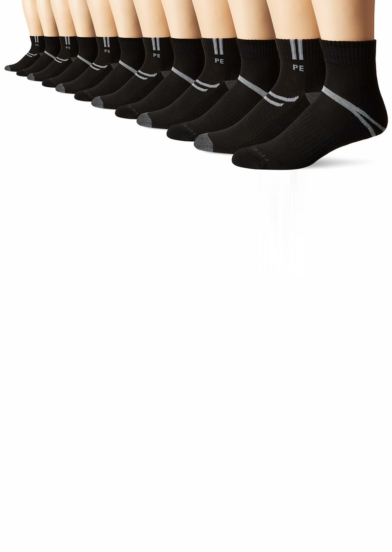 Perry Ellis Men's 6-Pk Athletic Cuff Stripe Quarter Socks black
