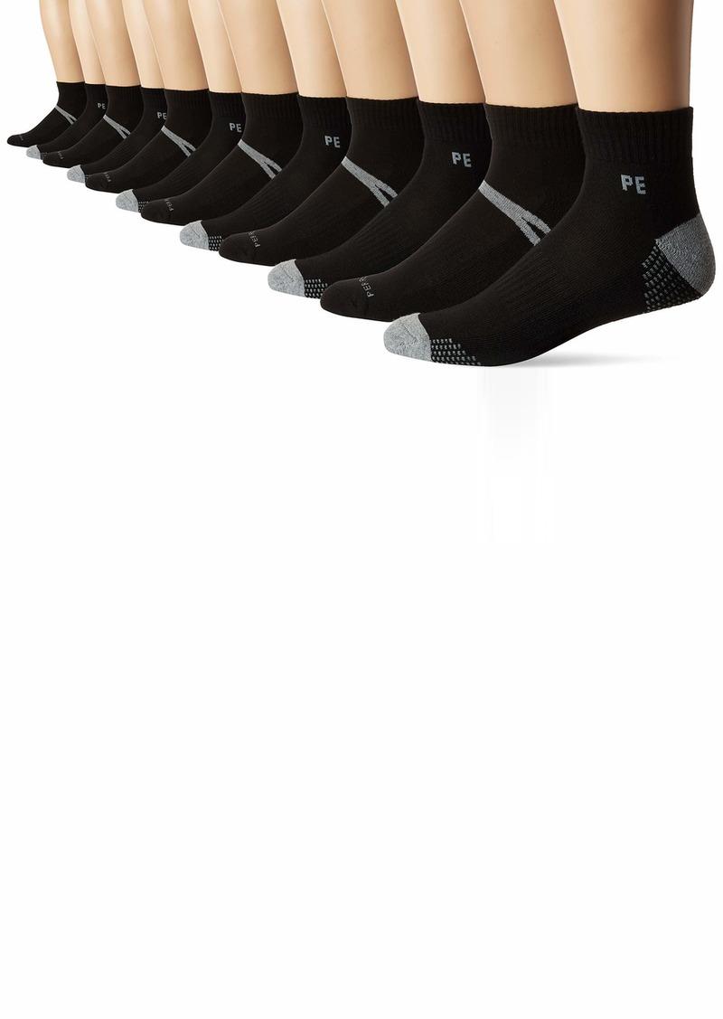 Perry Ellis Men's 6-Pk Athletic Digital Squares Quarter Socks