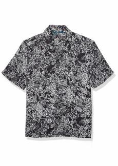Perry Ellis Men's Abstract Floral Print Short Sleeve Shirt black-4EMW7059 XX Large
