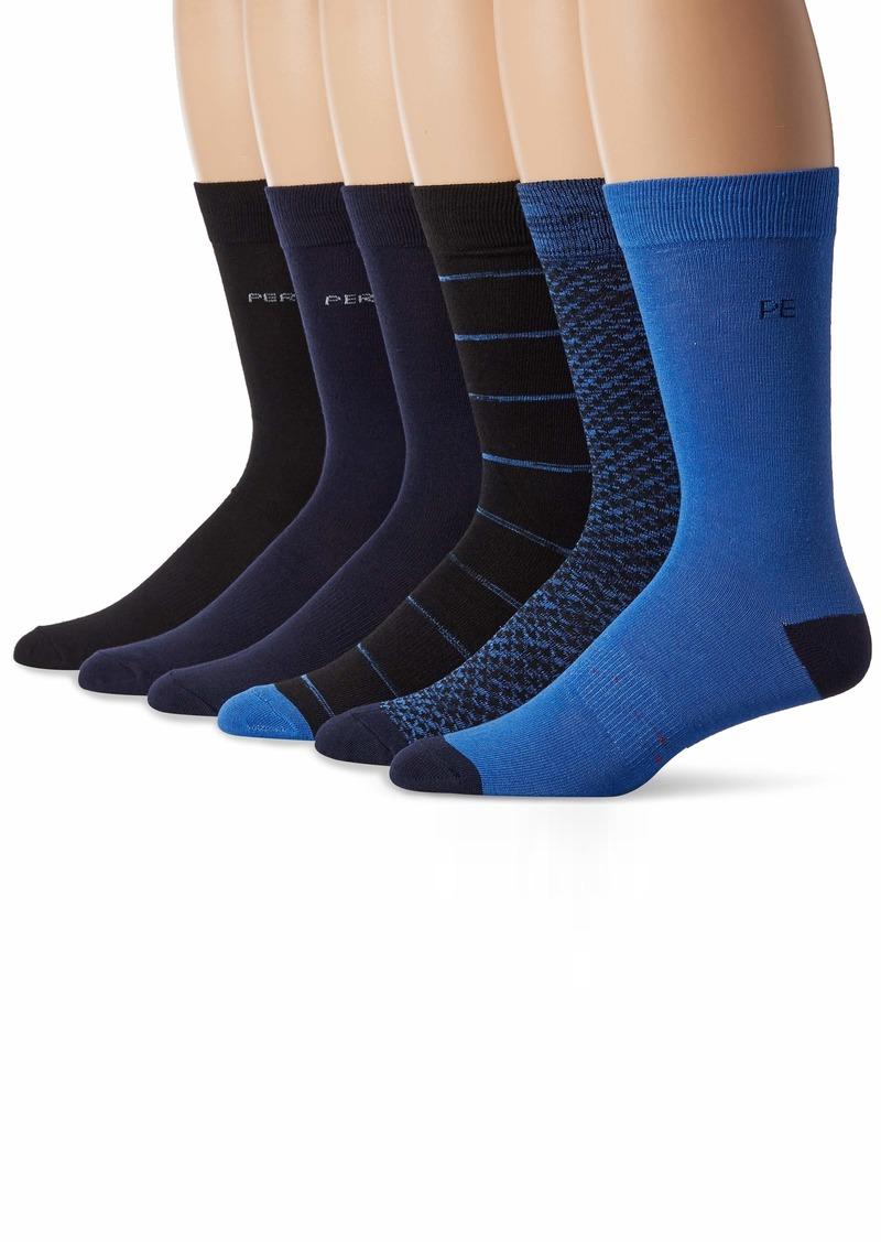 Perry Ellis Men's Assorted 6 PK Casual Comfort All Over Mini Star Socks