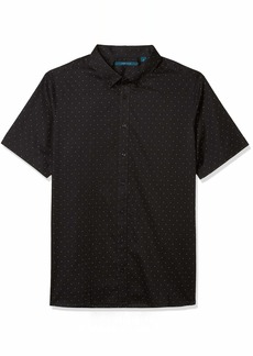 Perry Ellis Men's Big & Tall Big and Tall Dobby Dot Short Sleeve Button-Down Shirt