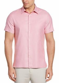 Perry Ellis Men's Solid Textured Short Sleeve Button-Down Shirt