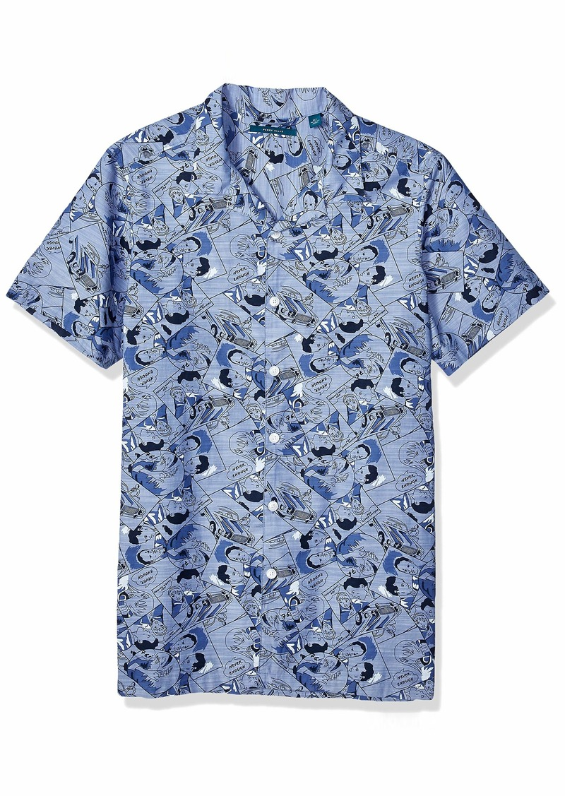 Perry Ellis Men's Big and Tall Comic Print Chambray Shirt  3X Large