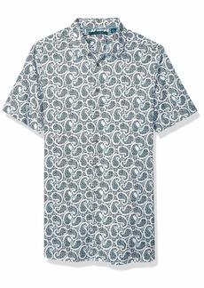 Perry Ellis Men's Big Multi-Color Paisley Print Short Sleeve Shirt Bright White-4EMW4649 4X Large Tall