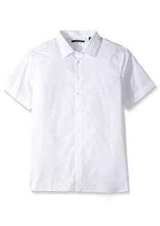 Perry Ellis Men's Big and Tall Short Sleeve Dot Printed Shirt Bright White-4CMW7610 2XL