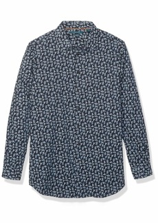 Perry Ellis Men's Big and Tall Floral Print Stretch Long Sleeve Shirt Cerulean-4EMW4657 4X Large