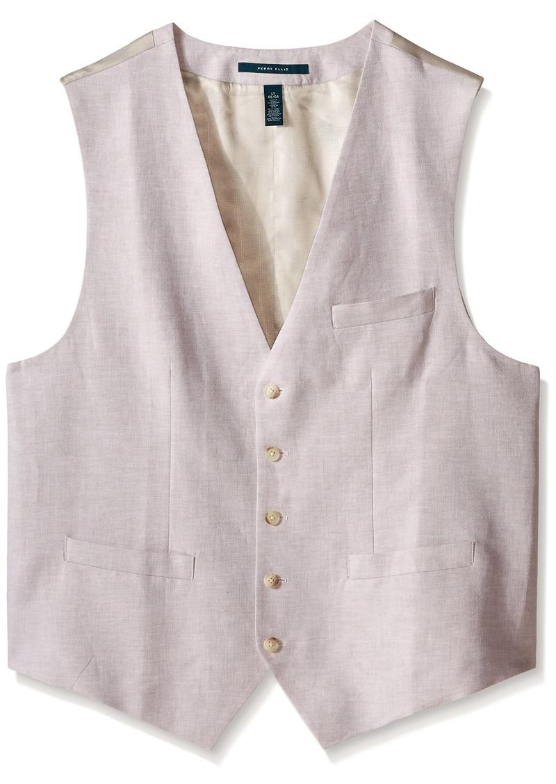 Perry Ellis Men's Big-Tall Suit Vest Natural Linen 4X-Large/Tall