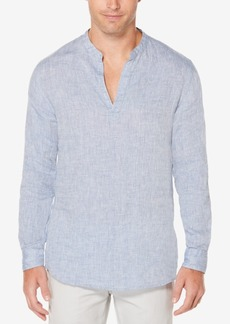 Perry Ellis Men's Linen Chambray Popover Shirt
