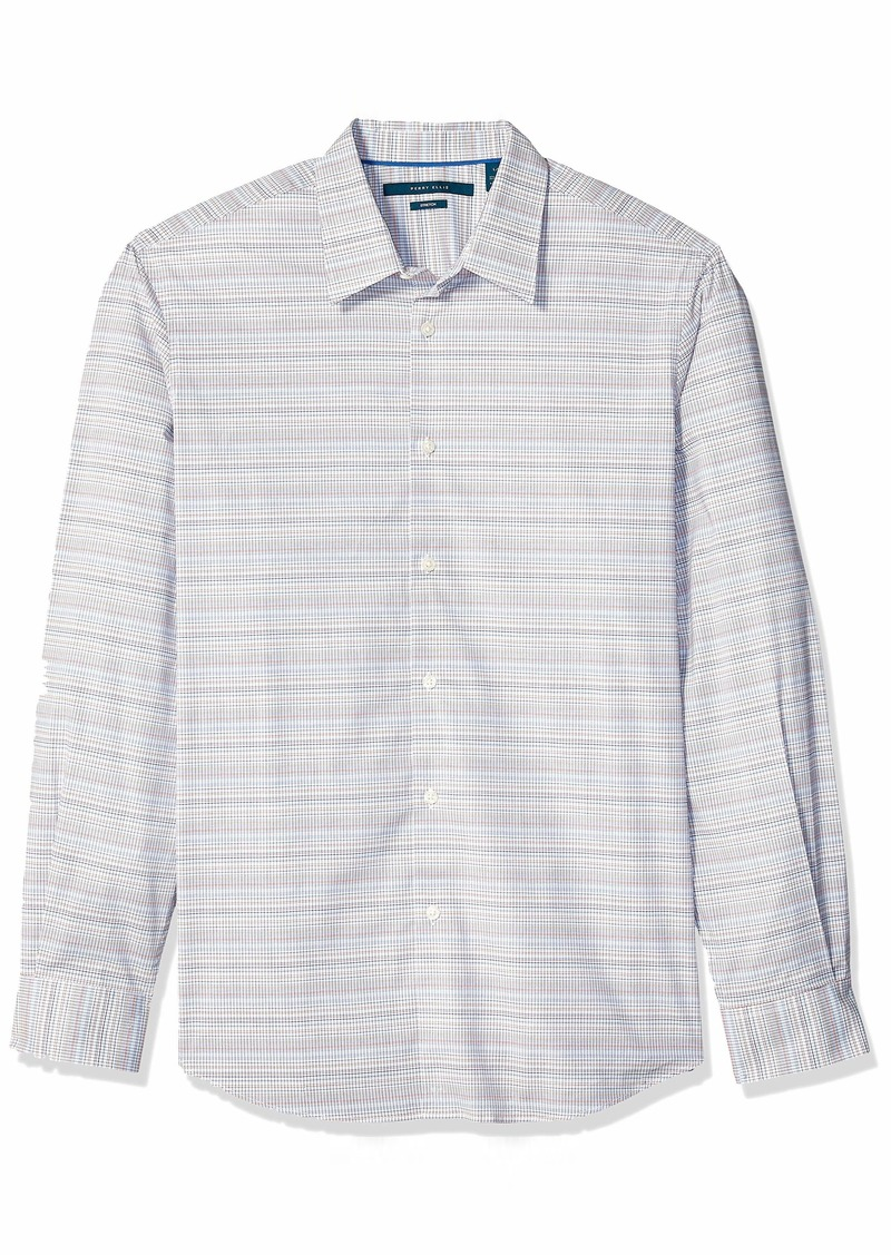 Perry Ellis Men's Check Multi-Color Grid Stretch Shirt Bright White-4ESW4022 Extra Large