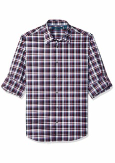 Perry Ellis Men's Check Print Stretch Shirt Dark Sapphire-4ESW4011