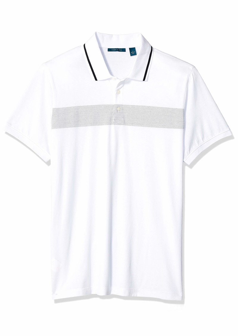 Perry Ellis Men's Chest Stripe Polo Bright White-4ESK7133
