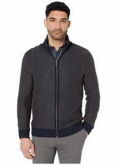 Perry Ellis Men's Chevron Stitch Full Zip Long Sleeve Sweater