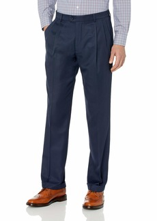 Perry Ellis Men's Classic Fit Elastic Waist Double Pleated Cuffed Pant  34x34